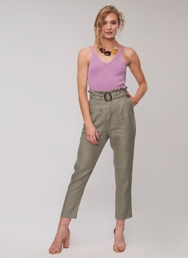 People By Fabrika Kemer Fırfırlı Pantolon Yeşil